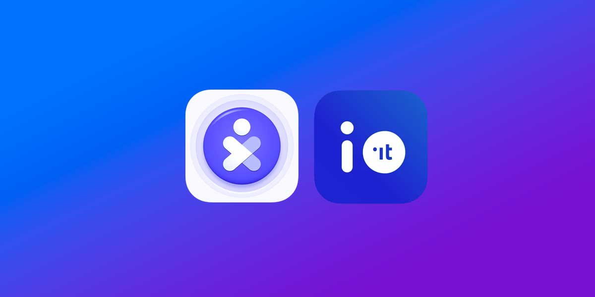 Logo App Io e App Immuni su sfondo blu e viola
