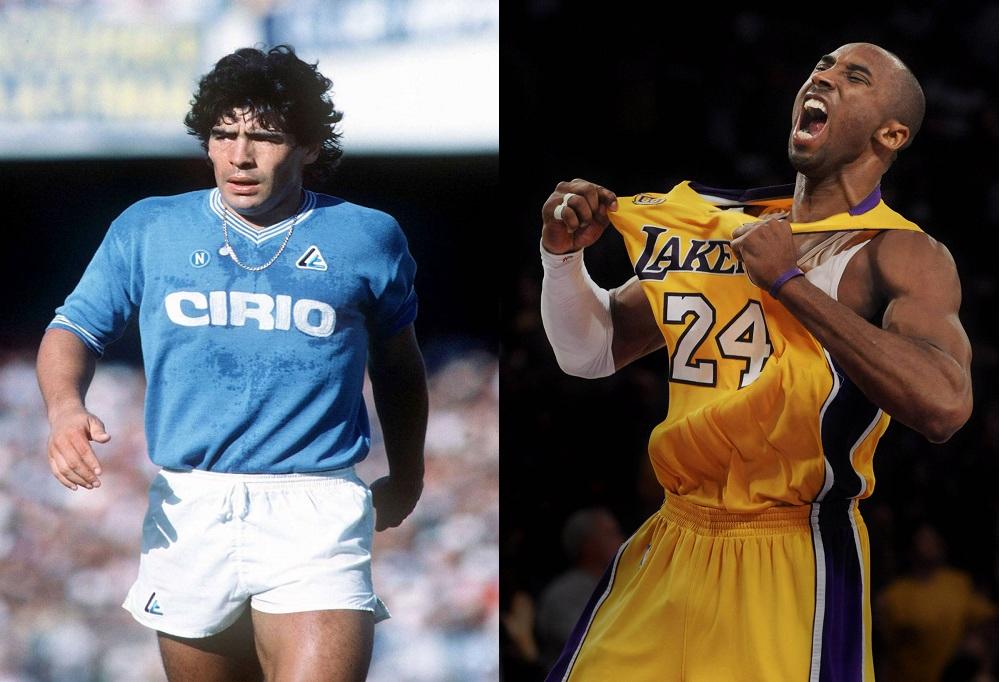 Foto affiancata di Maradona con la maglia del Napoli e di Kobe Bryant con la maglia giallo viola dei Lakers