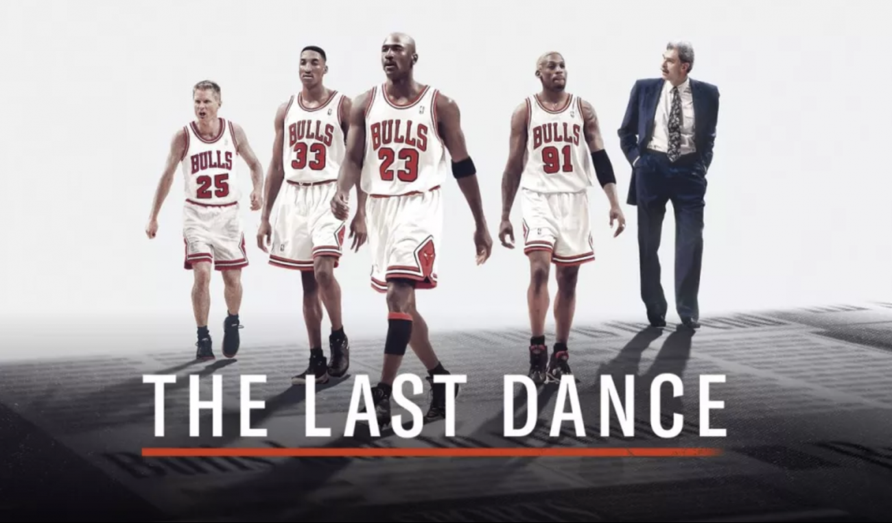 Steve Kerr, Scottie Pippen, Michael Jordan, Dennis Rodman e Phil Jackson