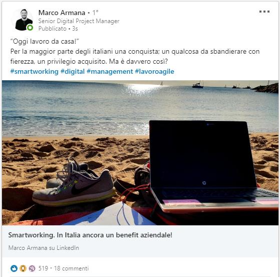 Post preso da Linkedin di articolo sullo Smartwork in Italia
